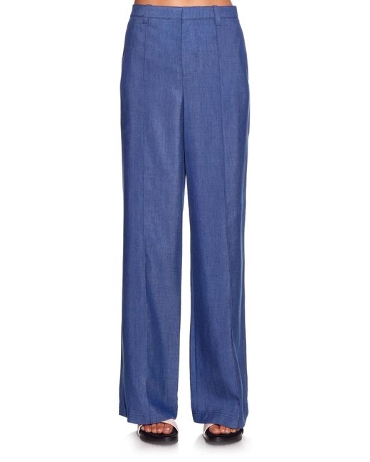 Vince High-rise Wide-leg Chambray Trousers in Blue | Lyst