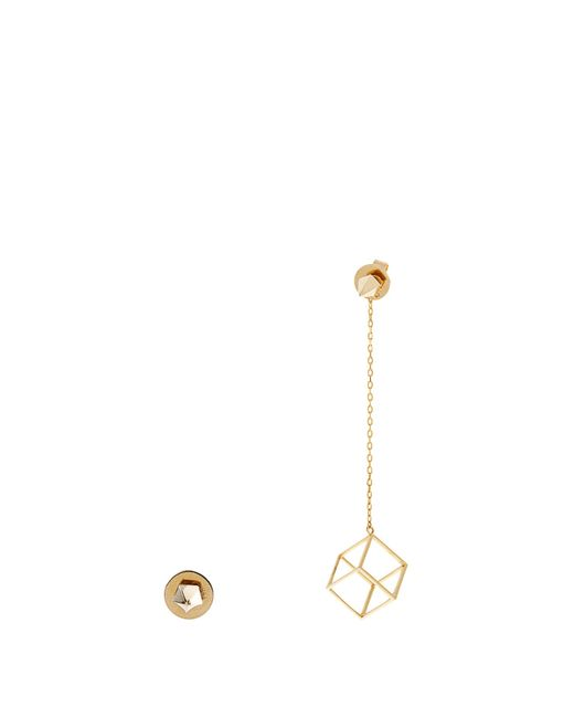Noor Fares | Metallic Pyramid And Cube Yellow-gold Earrings | Lyst