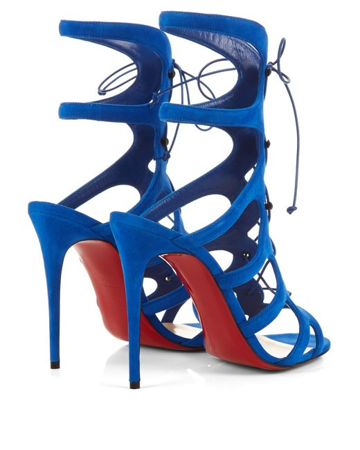 Christian louboutin Amazoulo Lace-Up Suede Gladiator Sandals in ...
