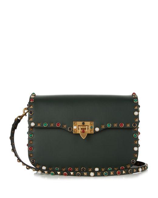 Valentino   Green Rockstud Rolling Leather Cross-body Bag   Lyst
