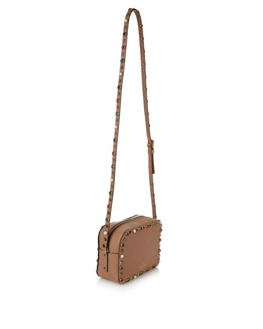 Valentino Rockstud Rolling Leather Camera Cross-body Bag in Beige ...