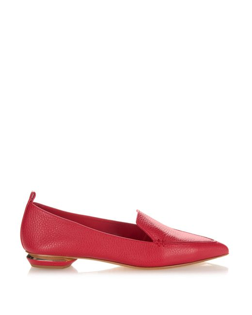 Nicholas Kirkwood | Red Beya Grained-leather Loafers | Lyst