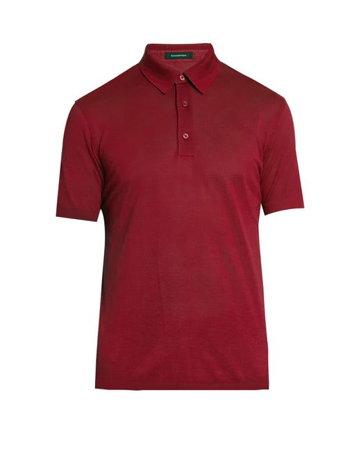 Ermenegildo zegna short sleeved cotton polo shirt in black for Zegna polo shirts sale
