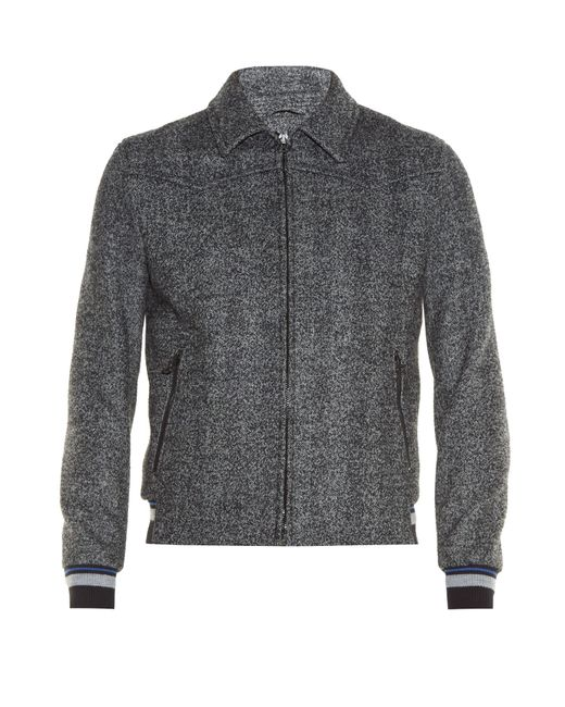Lanvin | Gray Point-collar Zip-front Bomber Jacket for Men | Lyst