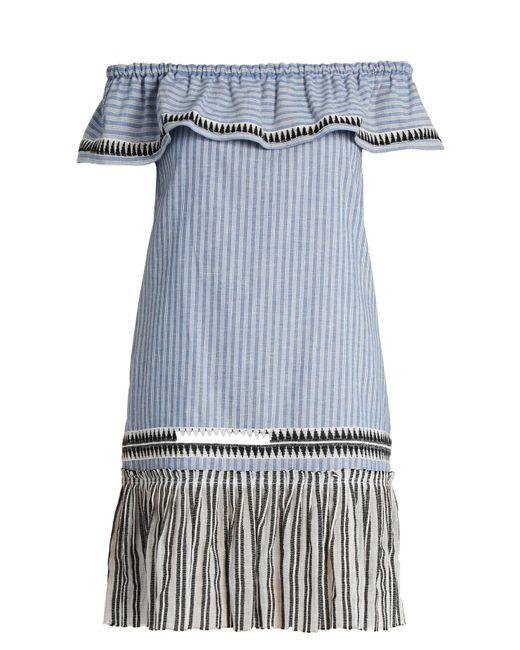 lemlem | Blue Amara Off-the-shoulder Striped Dress | Lyst