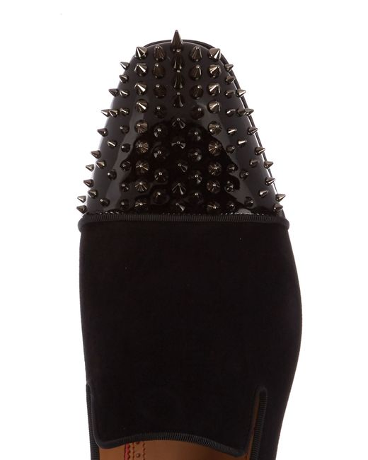 ... Christian Louboutin | Black Dynodent Spike-embellished Suede Loafers  for Men | Lyst