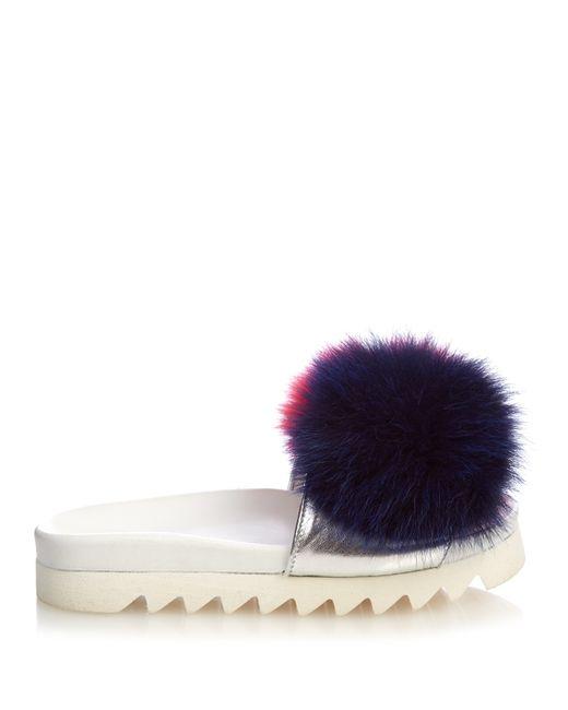 Joshua Sanders   Multicolor Fur-pompom Platform Slides   Lyst