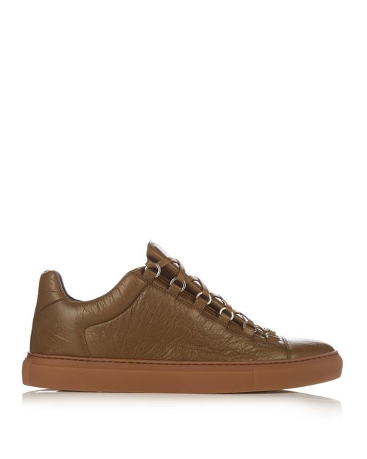 balenciaga arena leather low top sneakers in natural for men lyst. Black Bedroom Furniture Sets. Home Design Ideas