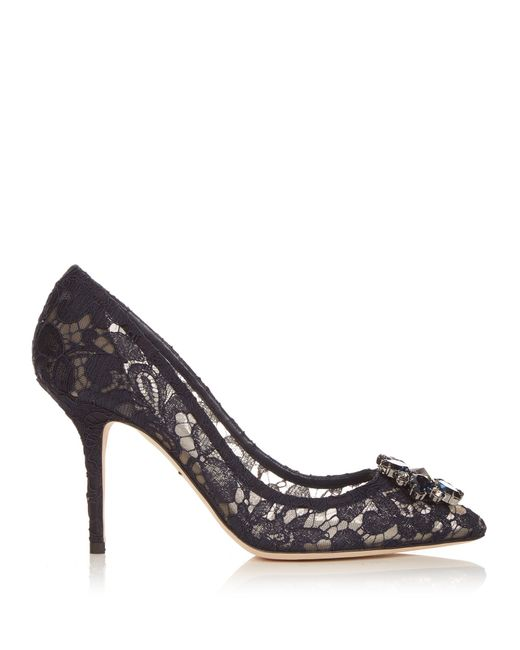 Dolce & Gabbana   Black Crystal-embellished Lace Pumps   Lyst