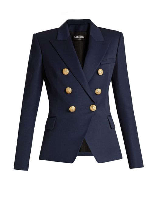Balmain Six-button Double-breasted Wool Blazer In Blue