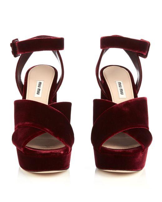 Miu Miu Velvet Block Heel Platform Sandals Lyst