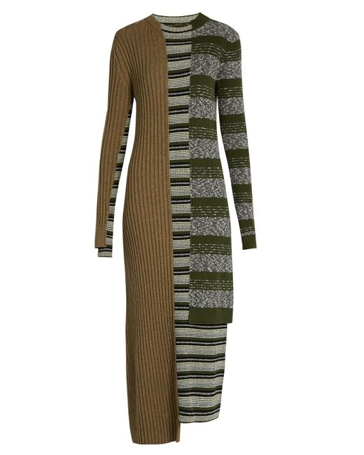Maison Margiela   Multicolor Striped Mixed-knit Wool-blend Dress   Lyst