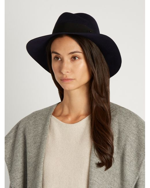 Maison michel virginie showerproof fur felt hat in blue lyst for Virginie maison