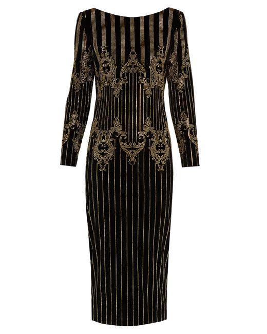 Balmain | Black Stud-embellished Velvet Midi Dress | Lyst