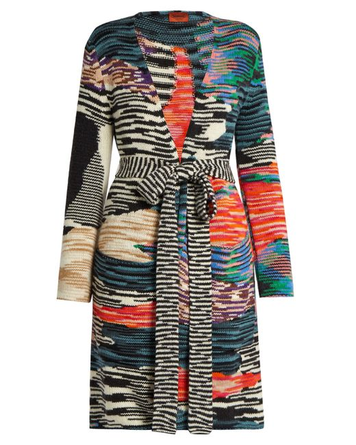 Missoni | Multicolor Open-front Zigzag-intarsia Wool-blend Cardigan | Lyst