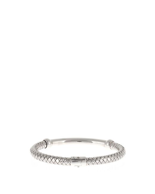 Bottega Veneta | Metallic Oxidised-silver Bracelet | Lyst