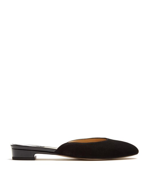 Paul Andrew | Black Alba Suede Backless Loafer | Lyst