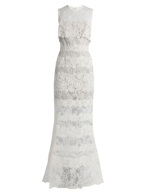 Elie Saab | White Sleeveless Macramé-lace Gown | Lyst