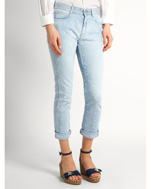 Stella mccartney Star-embroidered Skinny-leg Boyfriend Jeans in ...