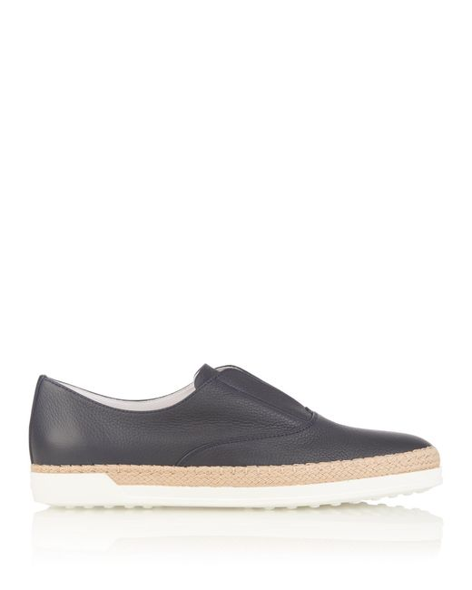 Tod's   Blue Leather Espadrille Trainers   Lyst