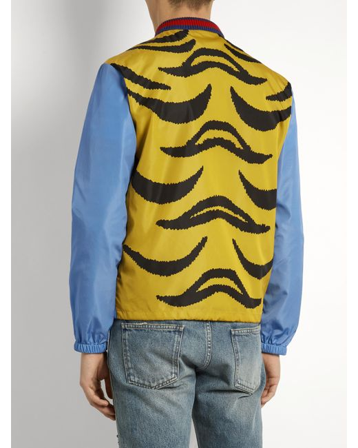 Gucci Tiger Print Bomber Jacket In Blue For Men Lyst
