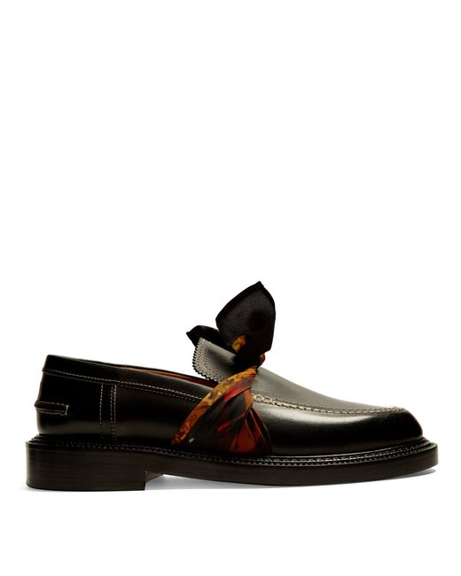 Maison Margiela | Black Silk-scarf Tie-front Leather Loafer | Lyst