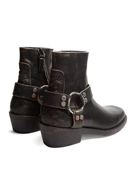 balenciaga santiago distressed leather boots in black lyst