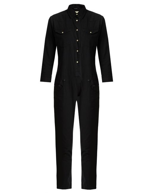 R13 | Black Cowboy Point-collar Slim-leg Cotton Jumpsuit | Lyst
