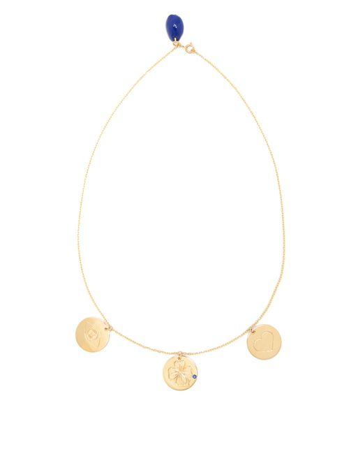 Aurelie Bidermann   Metallic Three-medals Sapphire & Yellow-gold Necklace   Lyst