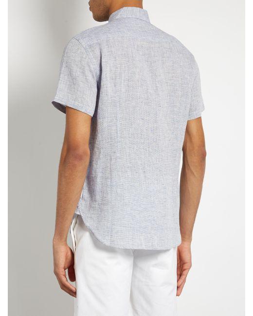 Orlebar brown meden lightweight linen shirt in blue for for Mens light blue linen shirt