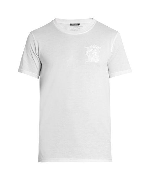 Balmain Logo Embroidered Short Sleeved T Shirt In White