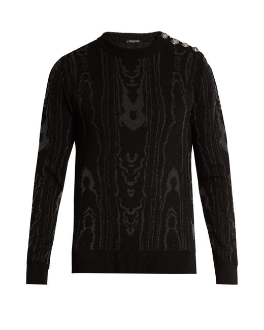 Balmain | Black Moiré-effect Cotton-blend Knit Sweater for Men | Lyst