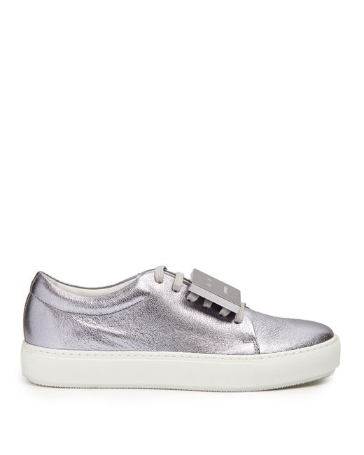 Acne | Metallic Adriana Leather Trainers | Lyst