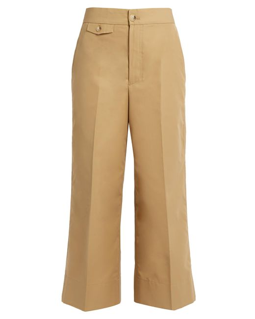 Helmut Lang | Brown High-rise Wide-leg Cotton-faille Trousers | Lyst