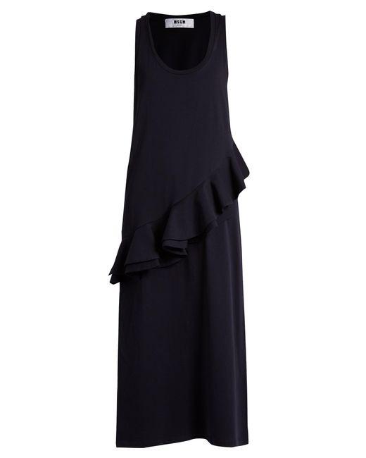 MSGM   Blue Asymmetric-ruffle Sleeveless Jersey Dress   Lyst