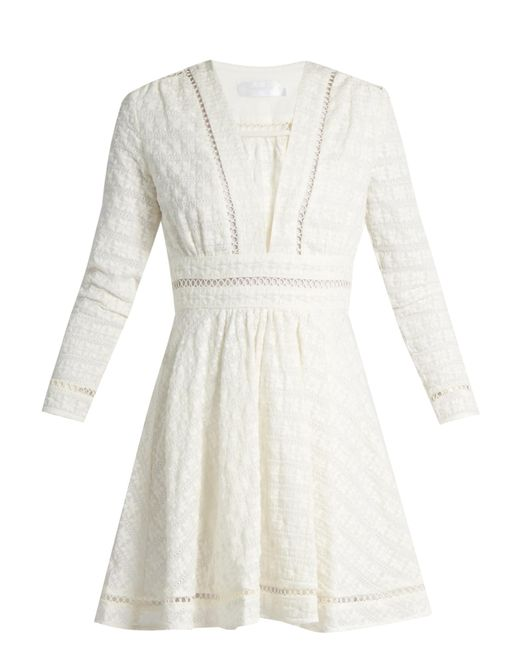 Zimmermann | White Ryker Embroidered-cotton And Silk-blend Dress | Lyst