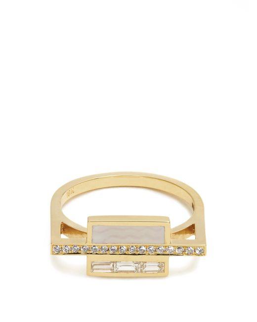 Azlee | Multicolor White Light Diamond, Enamel & Yellow-gold Ring | Lyst