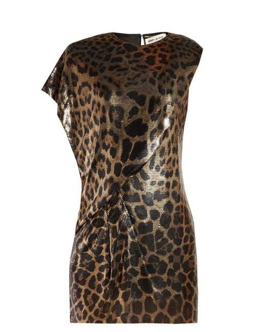 Saint Laurent - Brown Chainmail Leopard Print Mini Dress - Lyst