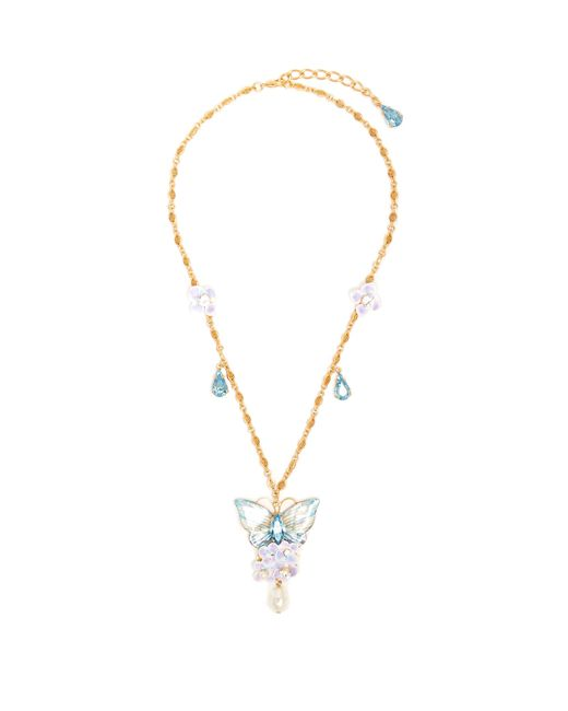 Dolce & Gabbana   Metallic Hydrangea And Butterfly-embellished Necklace   Lyst