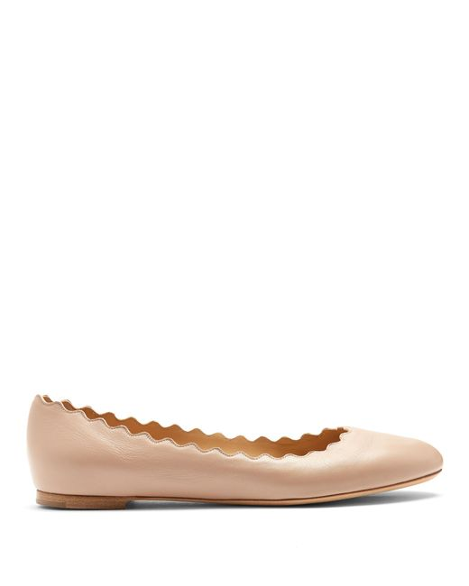 Chloé | Natural Lauren Scallop-edged Leather Flats | Lyst