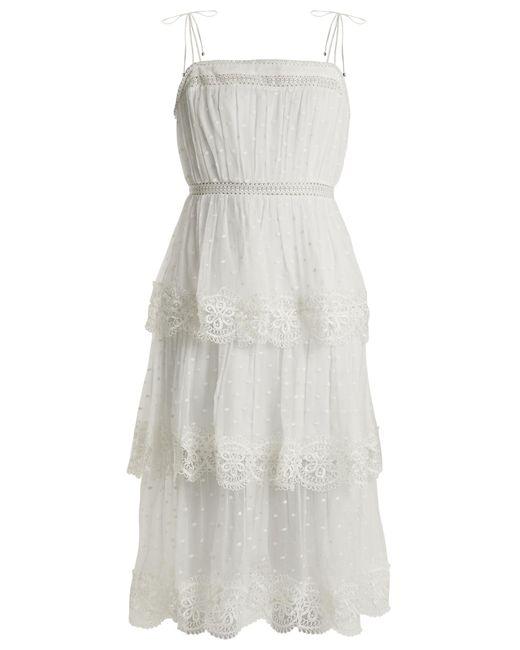 Zimmermann   Multicolor Meridian Circle-lace Silk Dress   Lyst