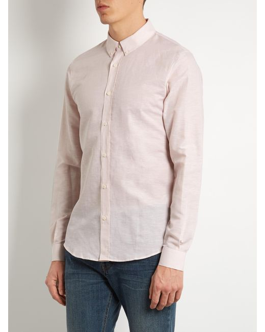 Ditions mr linen and cotton blend oxford shirt in pink for Pink oxford shirt men