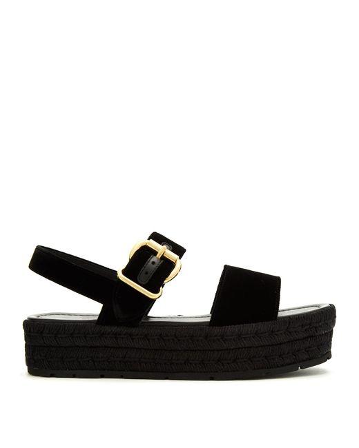 Prada | Black Double-strap Velvet Flatform Sandals | Lyst