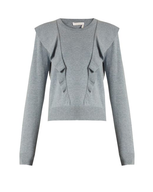 Chloé | Blue Frilled Cashmere And Cotton-blend Sweater | Lyst