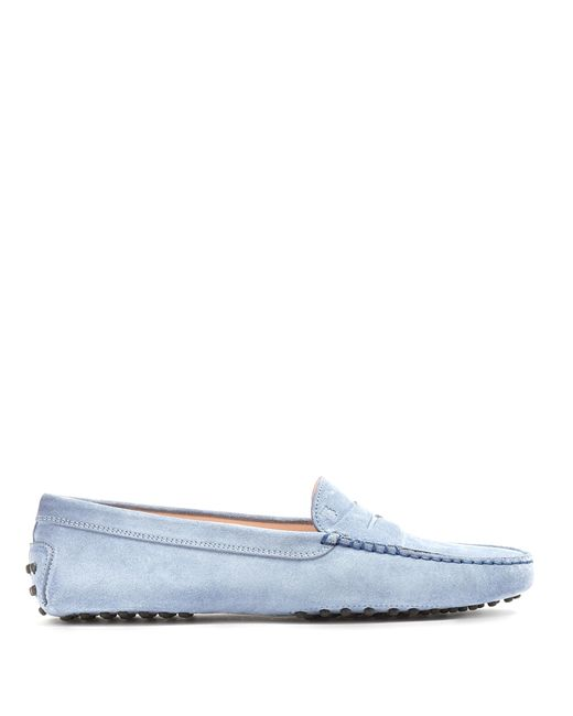 Tod's   Blue Gommini Suede Loafers   Lyst