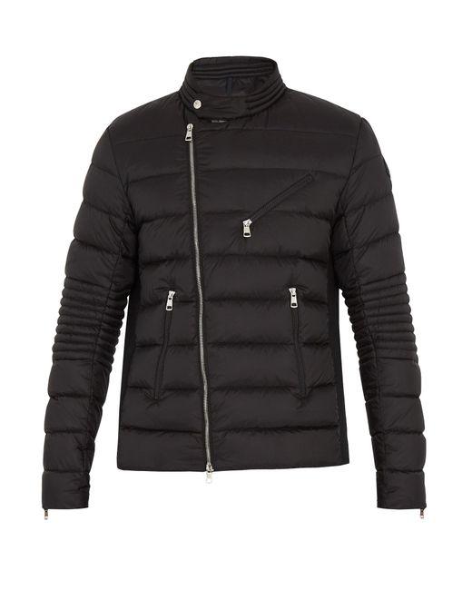 Moncler | Black Aubin Down Biker Jacket for Men | Lyst