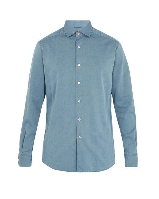 Ermenegildo Zegna | Blue Point-collar Cotton-chambray Shirt for Men | Lyst