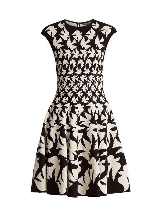 Alexander McQueen | Black Doves-intarsia Sleeveless Flared-skirt Dress | Lyst