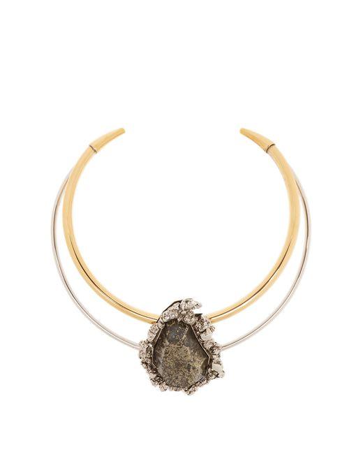 Alexander McQueen | Metallic Pyrite-embellished Double-hoop Choker | Lyst