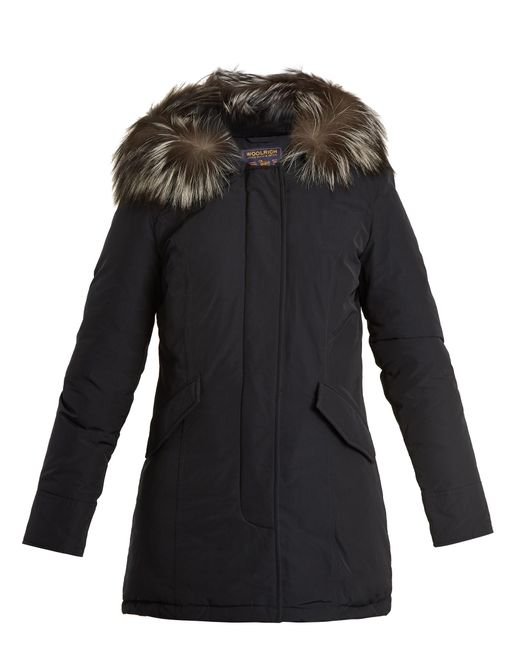 woolrich luxury arctic fur trimmed down parka in blue lyst. Black Bedroom Furniture Sets. Home Design Ideas